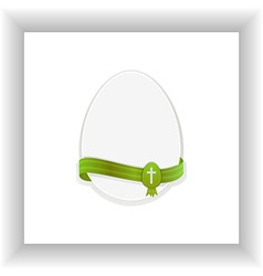 Easter egg with cross on white panel vector