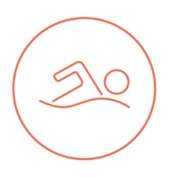 Swimmer line icon vector