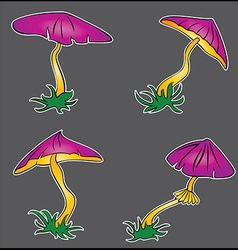 Cartoon lilac poisonous mushroom growing vector
