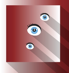 Eyes with shadows flat design on red vector