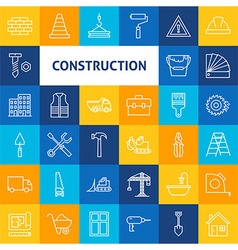Line Art Construction Icons Set vector image