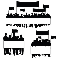 Seniors protest icon silhouette vector