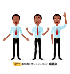 Admiration business man waving her hand cried vector