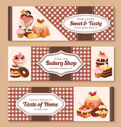 bakery shop desserts banners set vector image