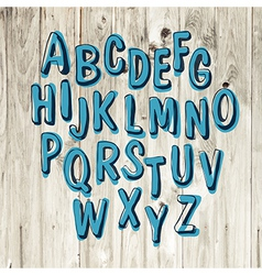 blue alphabet hand drawn vector image vector image