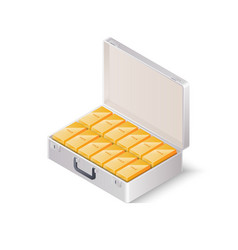 case full of gold bars isometric vector image vector image