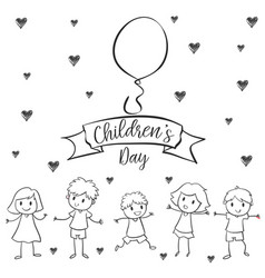 children day with kid design hand draw vector image