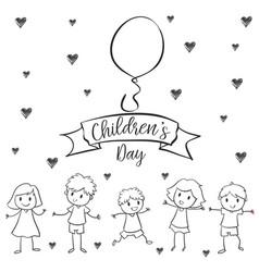 Children day with kid design hand draw vector