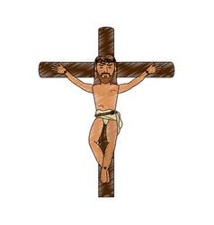 Crucified jesus cartoon vector