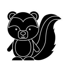 Cute skunk woodland animal vector