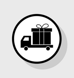 Delivery gift sign flat black icon in vector