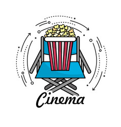 Director seat with popcorn snack vector