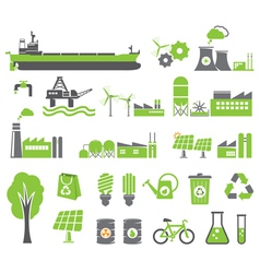 Green energy icons vector image
