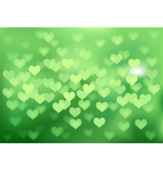 Green festive lights in heart shape background vector image vector image