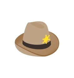 Hat sheriff icon isometric 3d style vector image