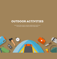 Horizontal banner camping and tourism on an vector
