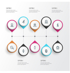 Human outline icons set collection of jogging vector