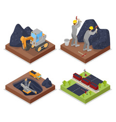 Isometric coal industry withpeople working in mine vector