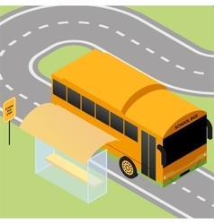 Isometric school bus stop vector image vector image