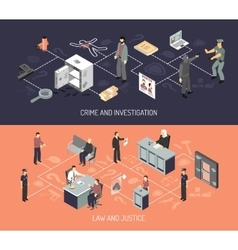 Judicial System Isometric Horizontal Banners vector image