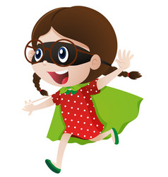little girl wearing cape and mask vector image