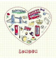 London pen drawn doodles collection vector