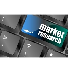 market research word button on keyboard vector image vector image