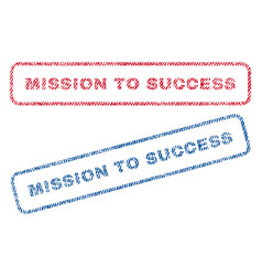 Mission to success textile stamps vector