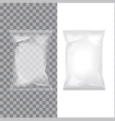 set of transparent and white foil bag packaging vector image vector image
