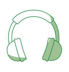 shadow green headphones cartoon vector image vector image