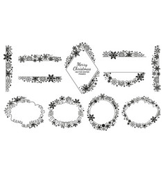 snowflake frame set black-white xmas collection vector image vector image