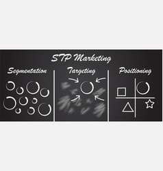 stp marketing diagram - process blackboard vector image vector image
