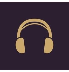 The headphone icon sound symbol flat vector