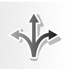 Three-way direction arrow sign new year vector