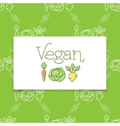 Vegan icon and logo concept in a line art style vector