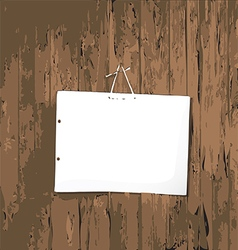 White poster on wooden background vector image vector image