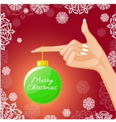 Woman hand with Christmas ball vector image vector image