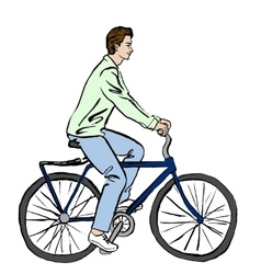 Woman in dress on bicycle vector