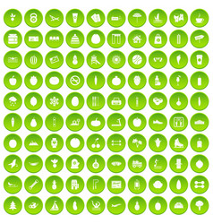 100 wedding icons set green circle vector