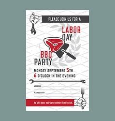 Labor day bbq invitation card vector