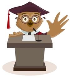 Owl professor said from podium vector