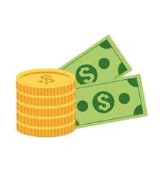 Coin and dollar bills icon vector