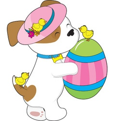 Cute puppy easter egg vector