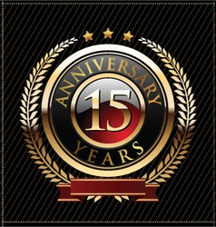 15 years anniversary golden label vector