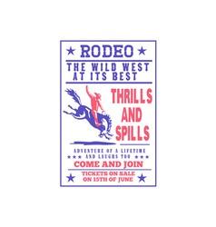American rodeo cowboy riding bucking bronco vector