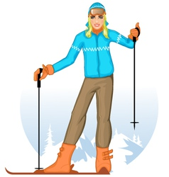 Girl with skis on the winter background vector