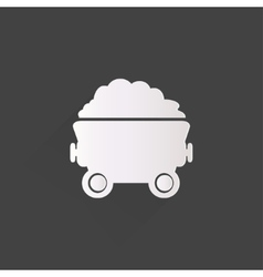 Mining coal cart icon vector