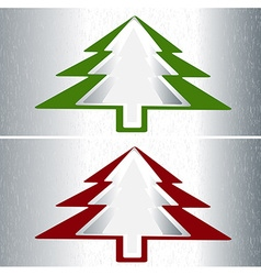 Set of two christmas trees vector