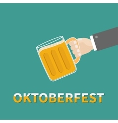 Oktoberfest hand and clink beer glasses mug with vector