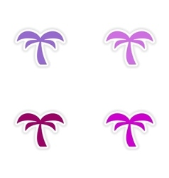 Assembly realistic sticker design on paper palm vector
